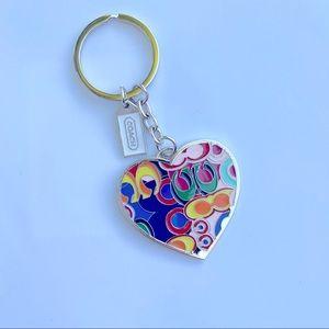 Coach keychain heart logo key fob rainbow silver
